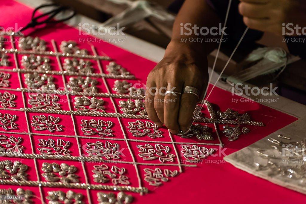thai traditional fabric stock photo