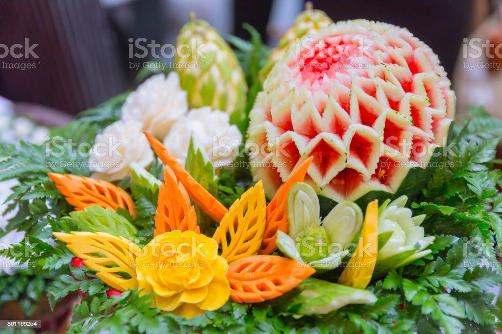 Traditionelle Thailandische Dekoration Kultur Obst Form Geschnitzt