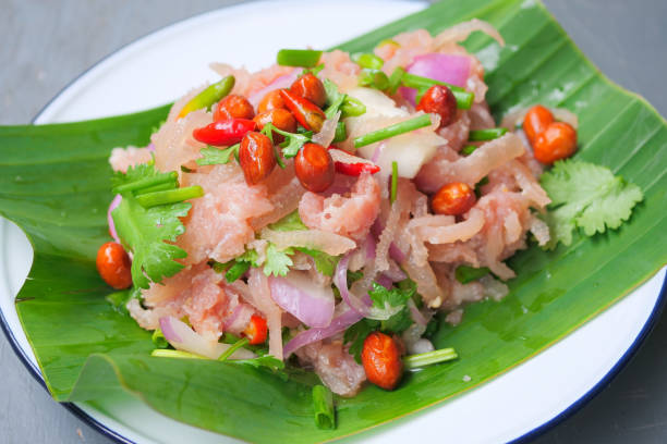 Thai traditional food fermented ground pork, fresh red and green chilli stock photo