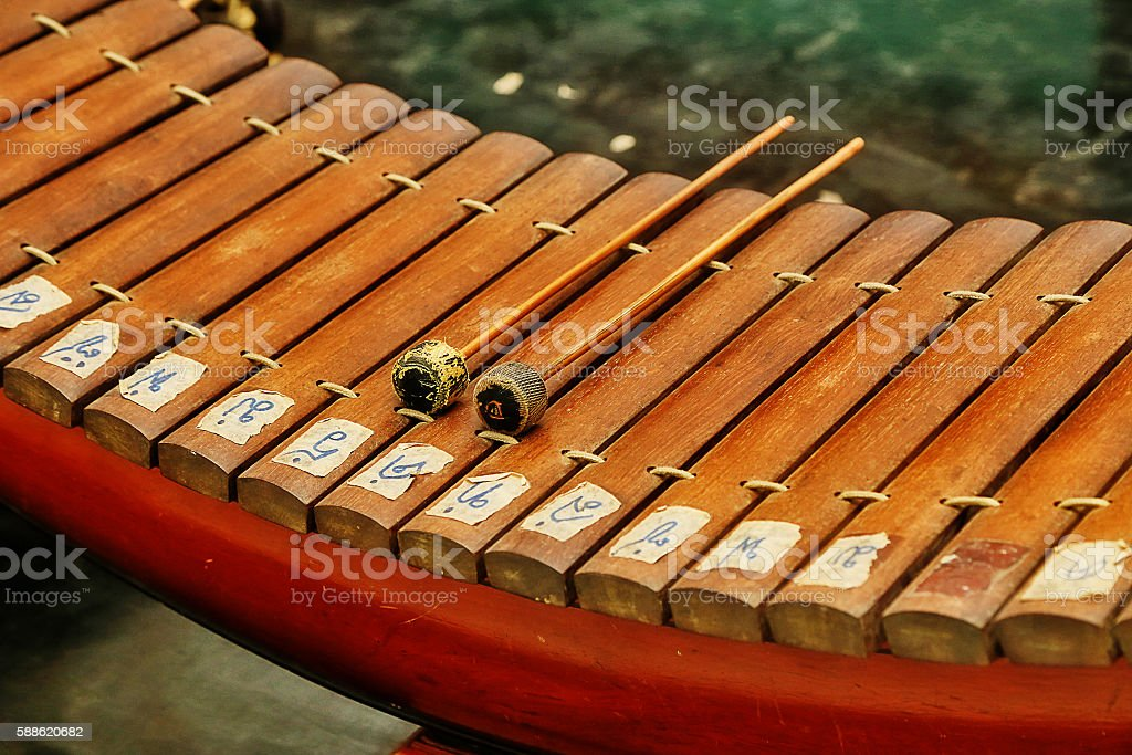 Thai Traditional Gamelan Music Instrument Xylophone And Drum