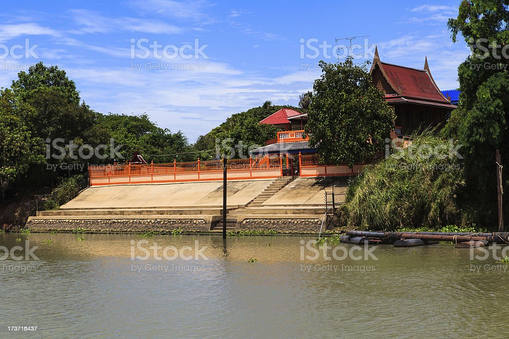 Thai traditional house along the river, Living with natural take royalty-free stock photo