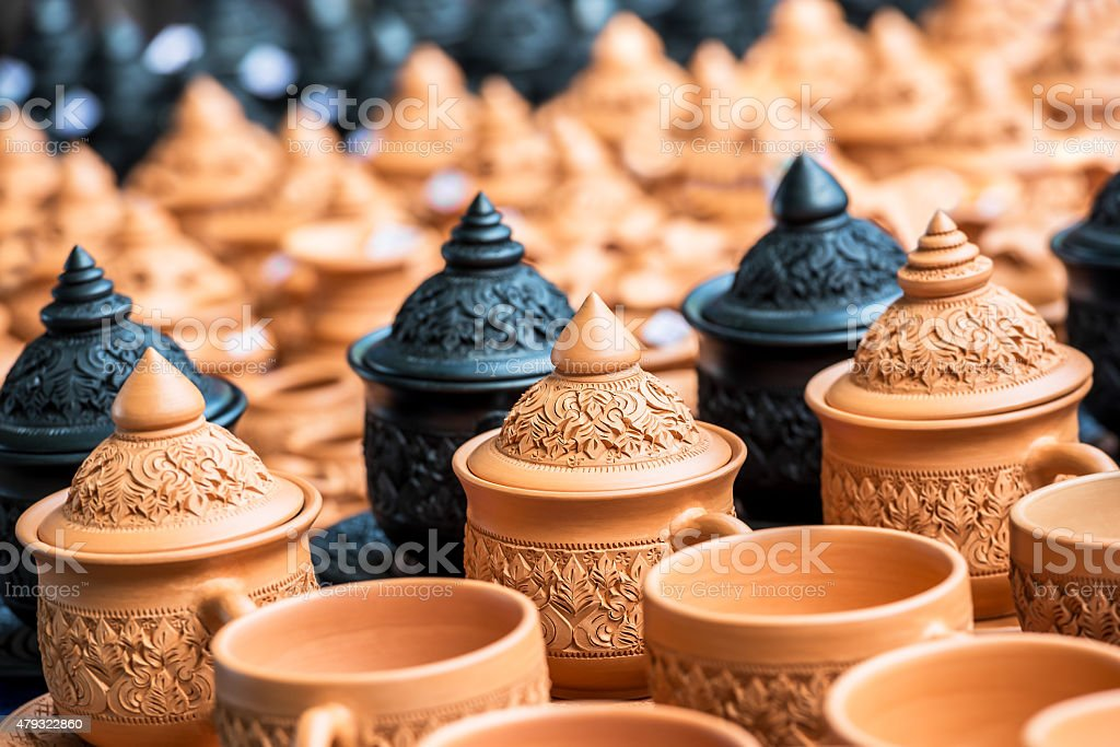 Thai traditional pottery stock photo