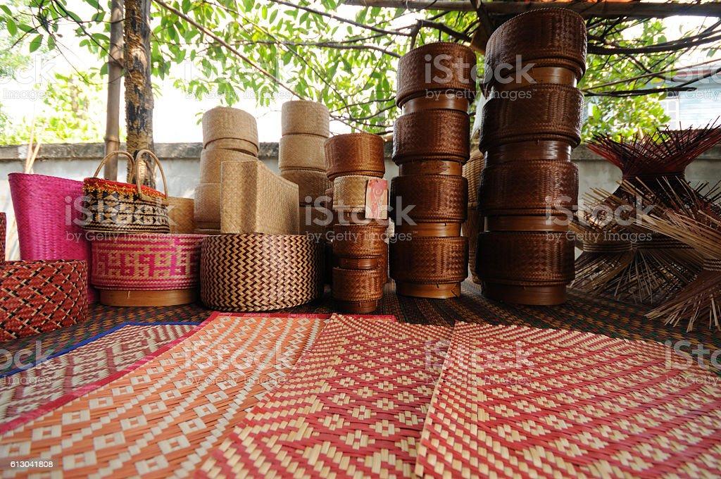 Thai traditional rice box stock photo