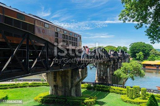 Thai train at dead railway. Kanchanaburi, Thailand.