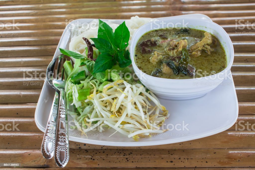 Thai Vermicelli in dish eaten with curry and vegetable. royalty-free stock photo
