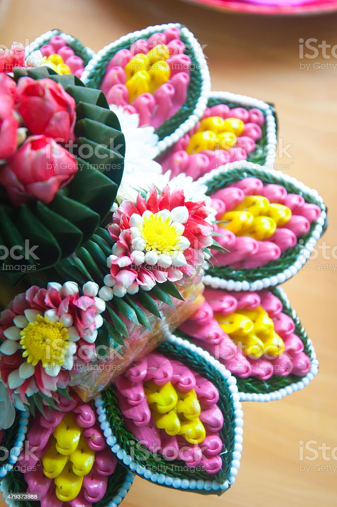 Thai wedding accessories for Relaunch ceremony stock photo