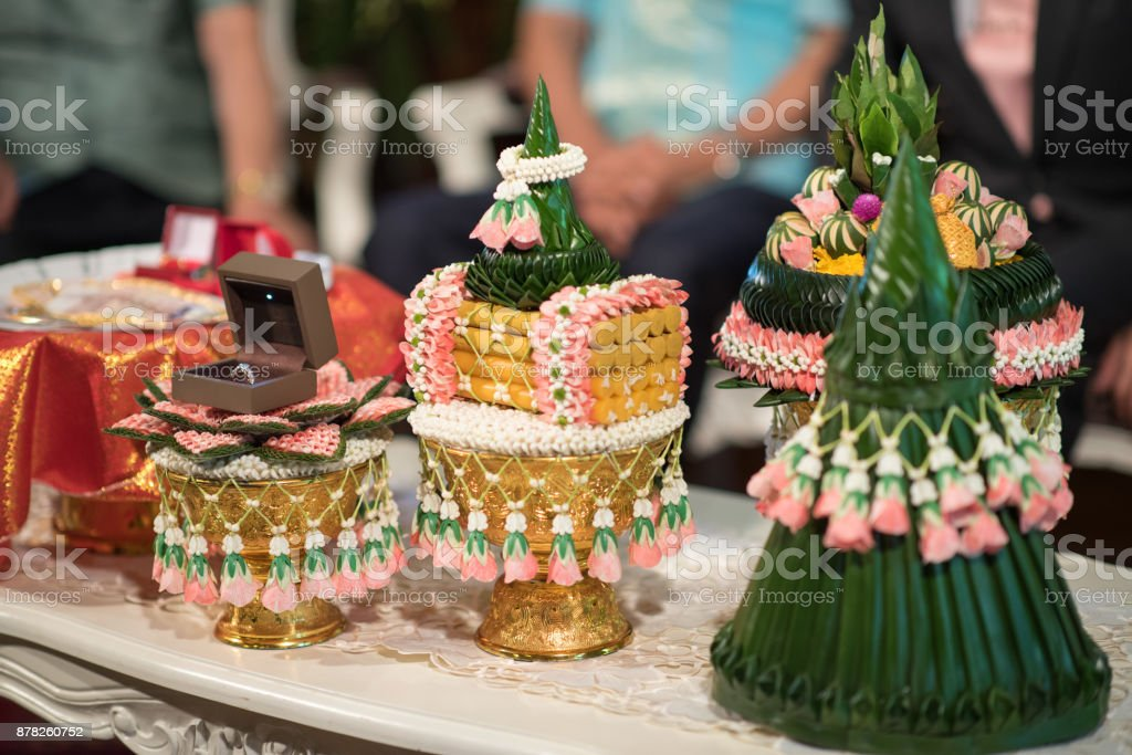 Thai wedding ceremony. Decoration object and artifacts Traditional stock photo