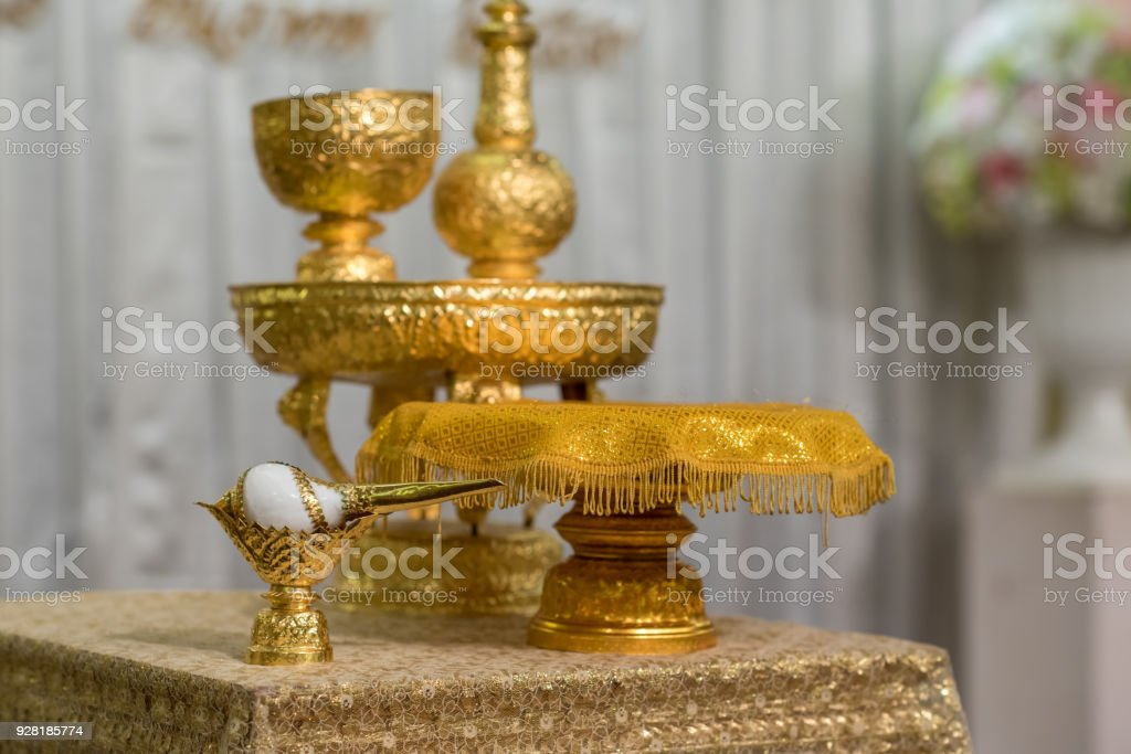 Thai wedding object for Shell Ceremony or Traditional water pouring stock photo