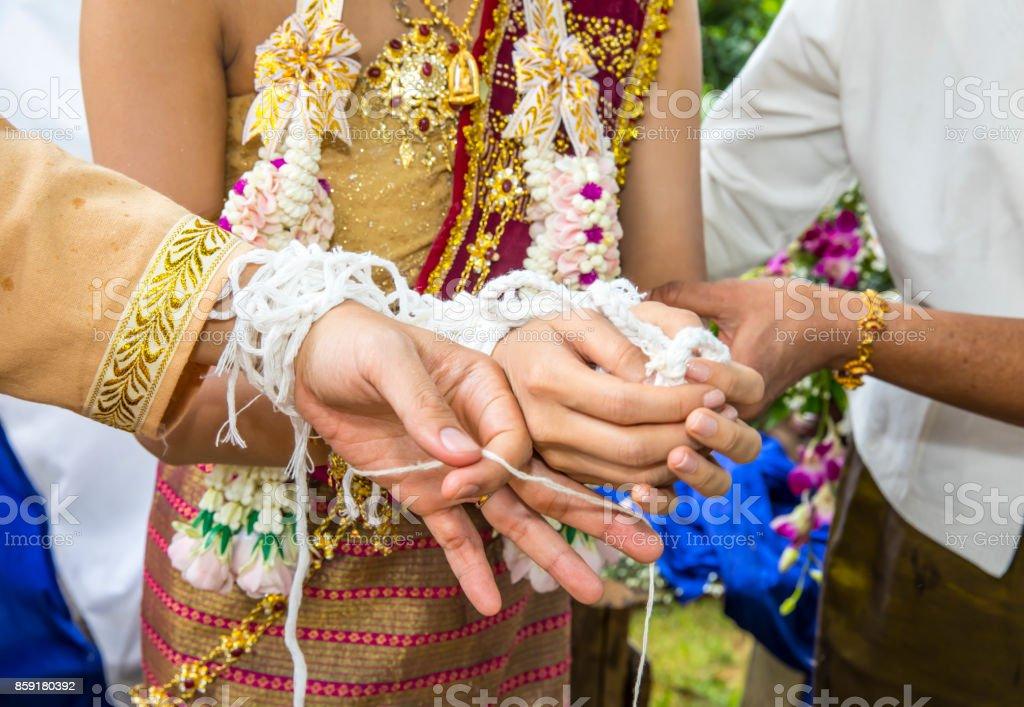 Thai wedding, Thai tradition wedding watering relaunch Wedding Ceremony Thailand. stock photo