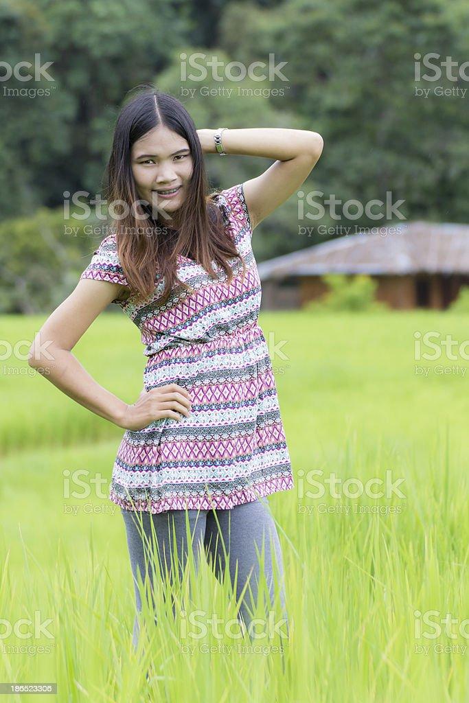Thai Woman Enjoy in Field Doi inthanon, Maeglangluang Karen villages royalty-free stock photo