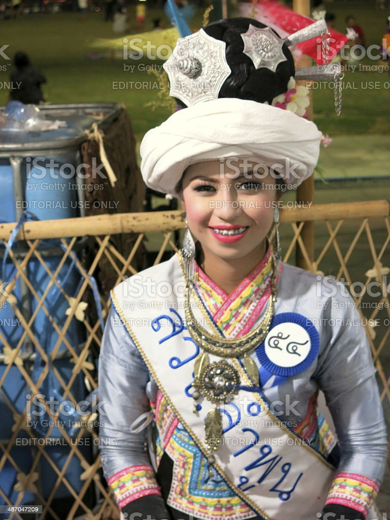 Thai woman in traditional clothes royalty-free stock photo