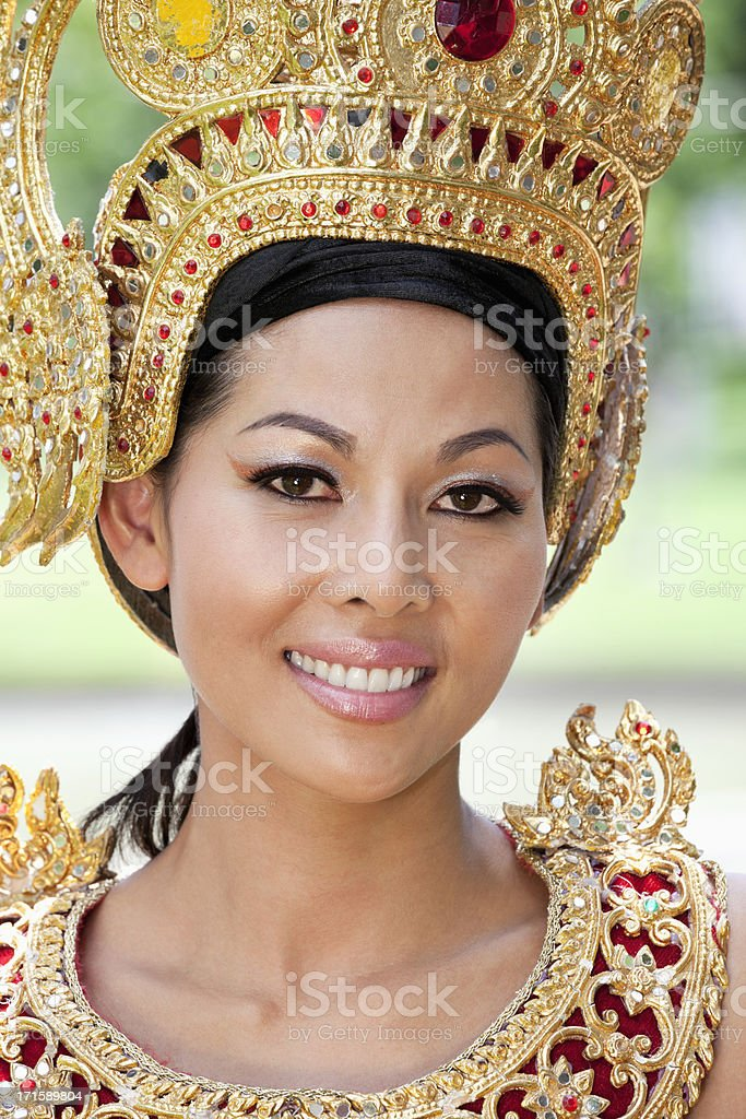Thai woman in traditional dress royalty-free stock photo