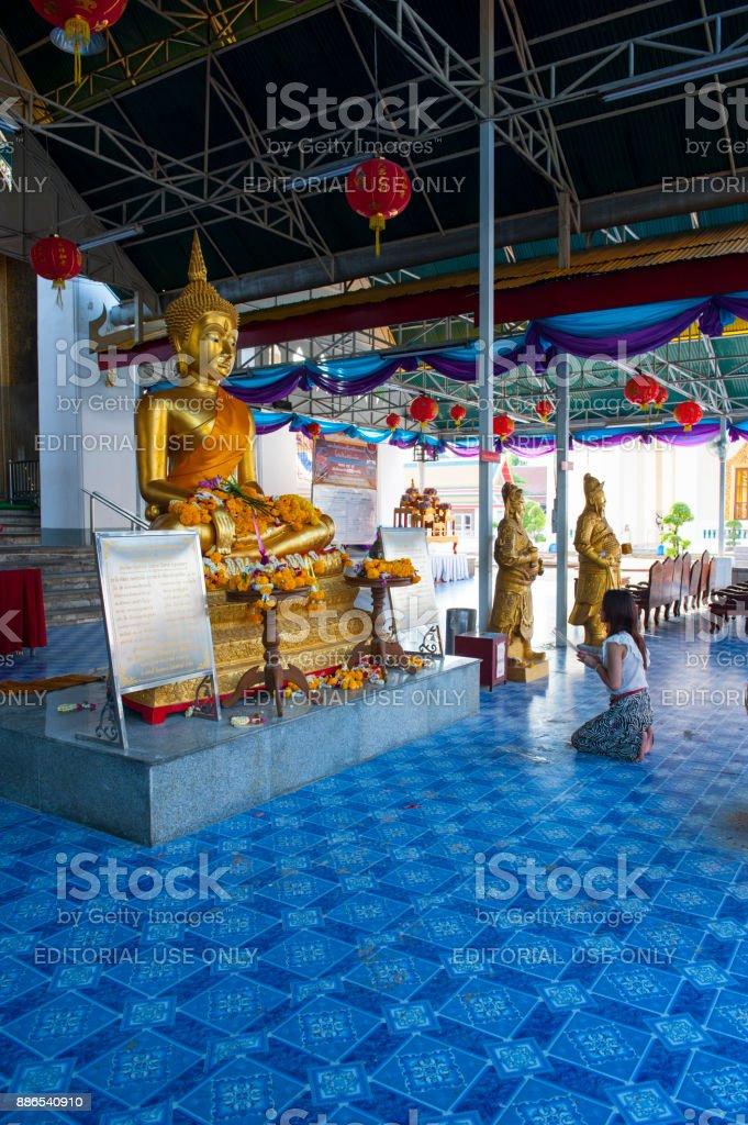 Thai woman praying stock photo