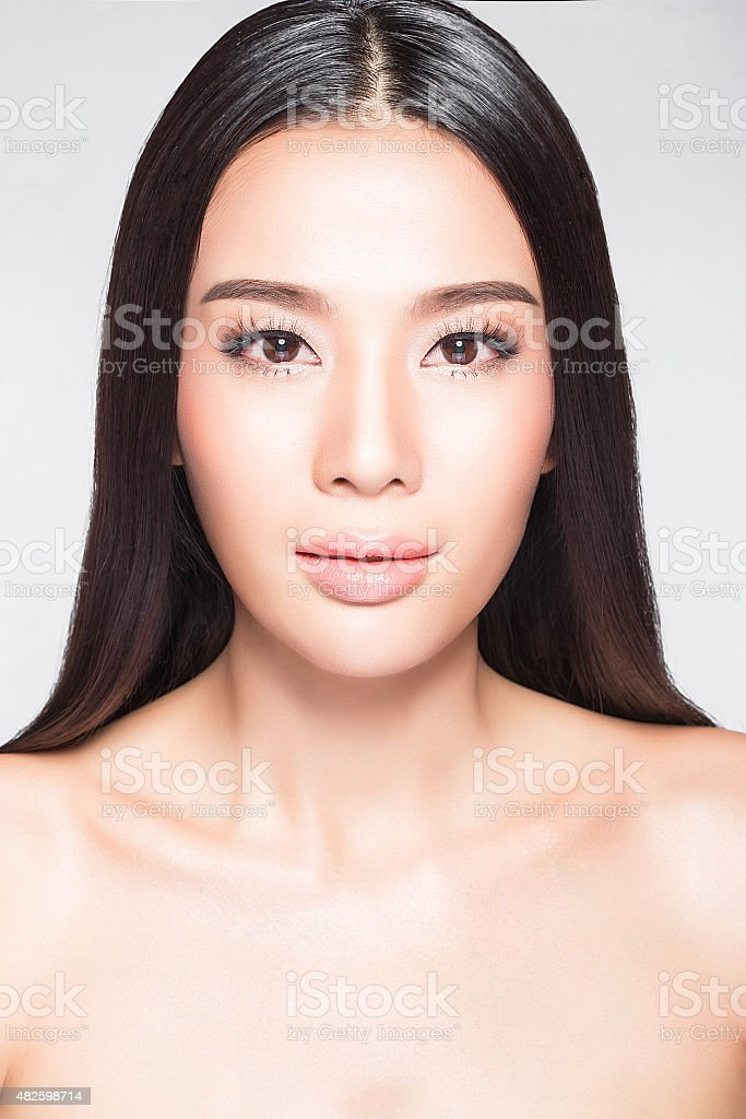 Thai woman with beauty face and perfect skin stock photo