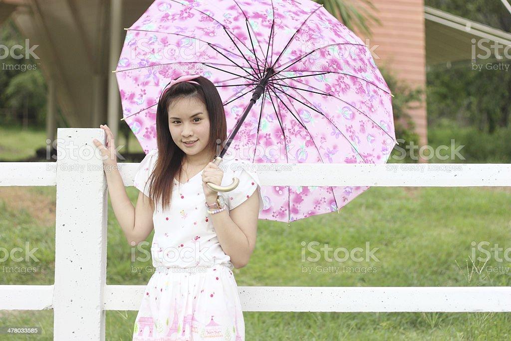 Thai women portrait outdoor stock photo