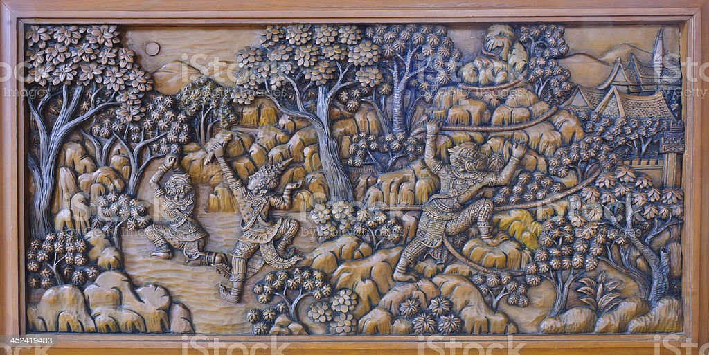 Thai wood carving stock photo