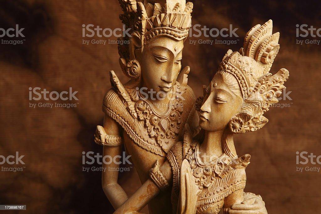 Thai wooden figurine stock photo
