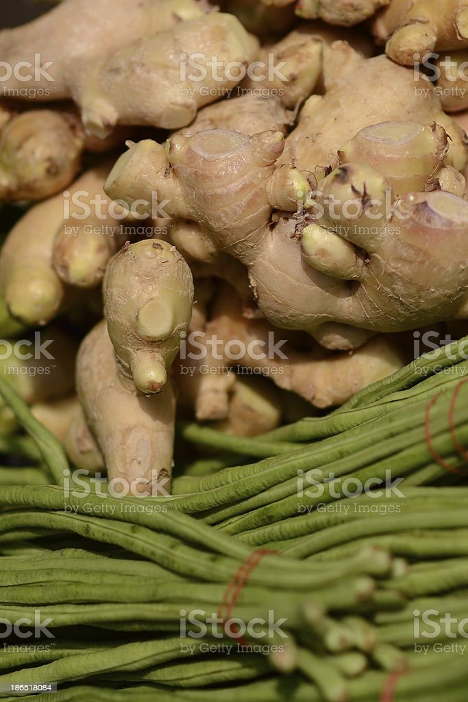 thai yardlong bean & Ginger royalty-free stock photo