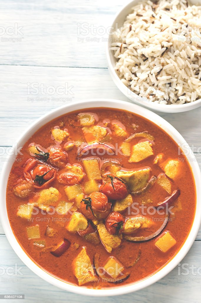 Thai yellow curry with chicken and rice stock photo