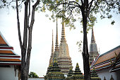 Thailand, 1 January, 2019: Wat Phra Chetuphon Mangklarama better known as Wat Pho. Stupas of Wat Pho. Wat Pho is a Buddhist temple in Bangkok, Thailand.