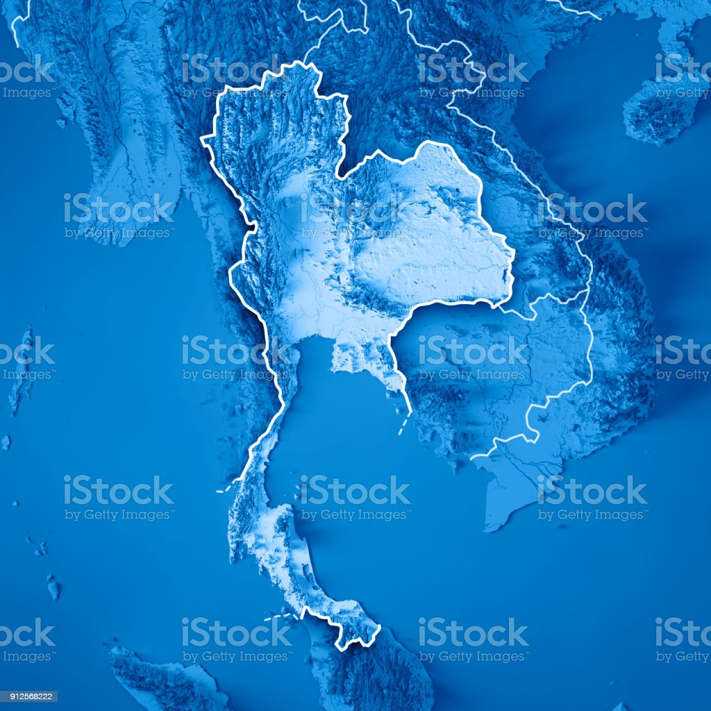 Thailand Topographic Map.Thailand 3d Render Topographic Map Blue Border Stock Photo More
