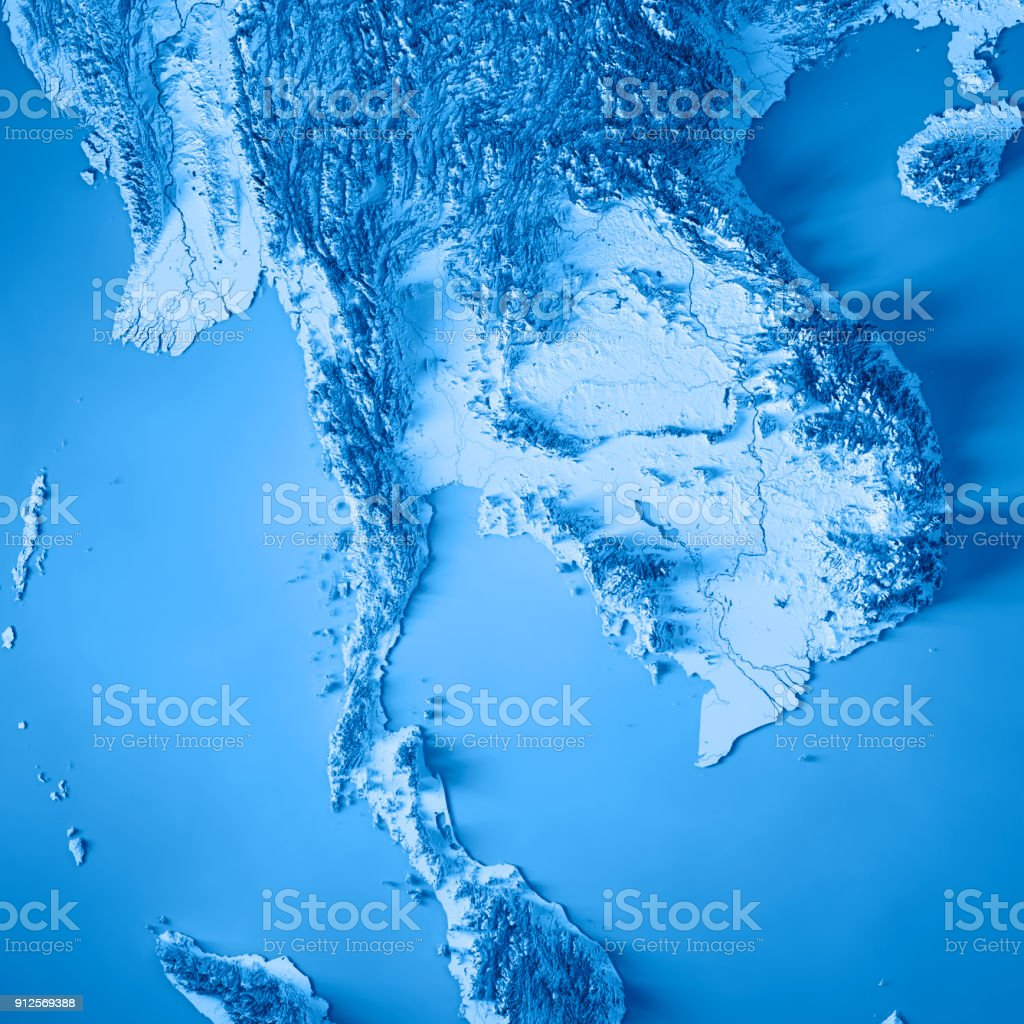 Thailand Topographic Map.Thailand 3d Render Topographic Map Blue Stock Photo More Pictures