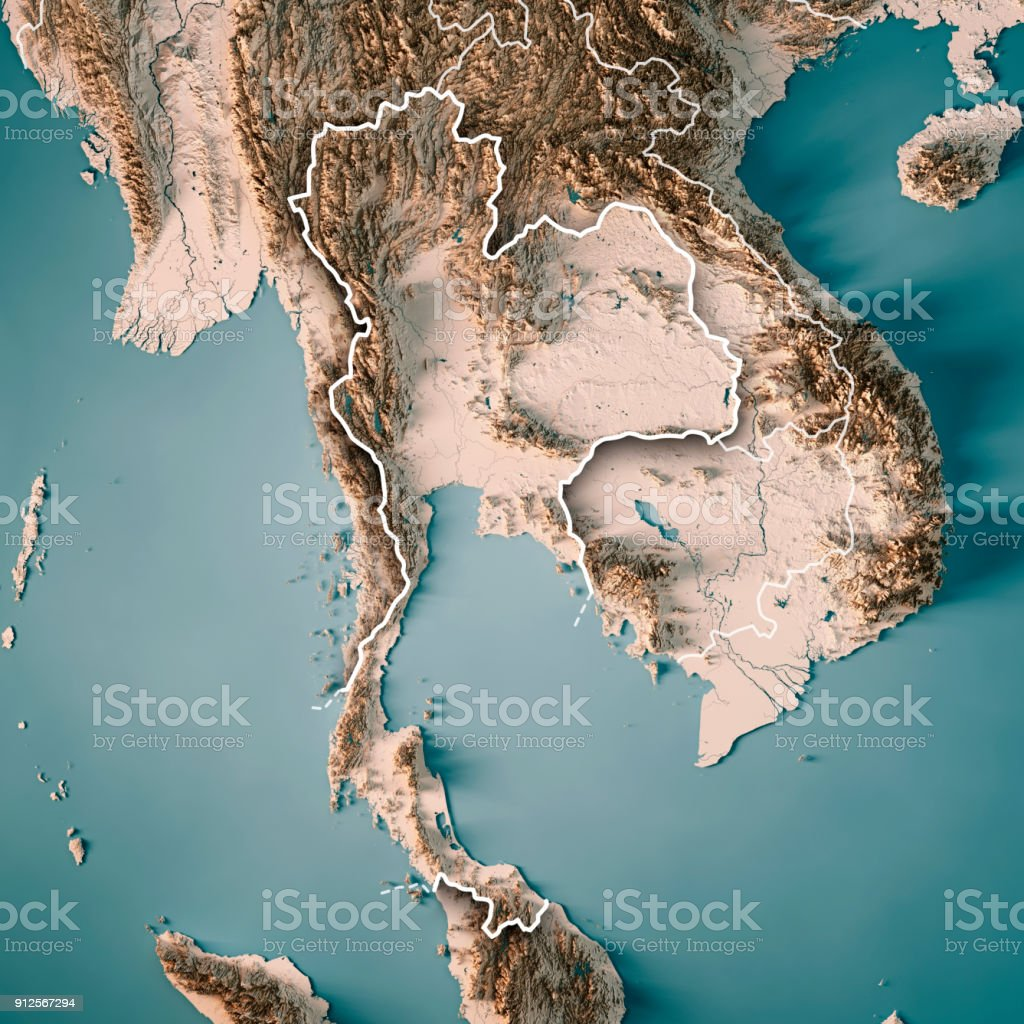 Thailand 3D Render Topographic Map Neutral Border stock photo