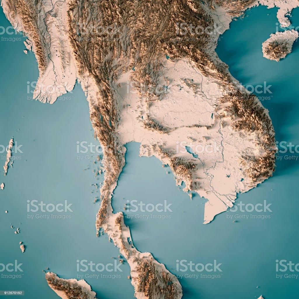 Thailand3d Render Topographische Karte Neutral Stockfoto Und Mehr
