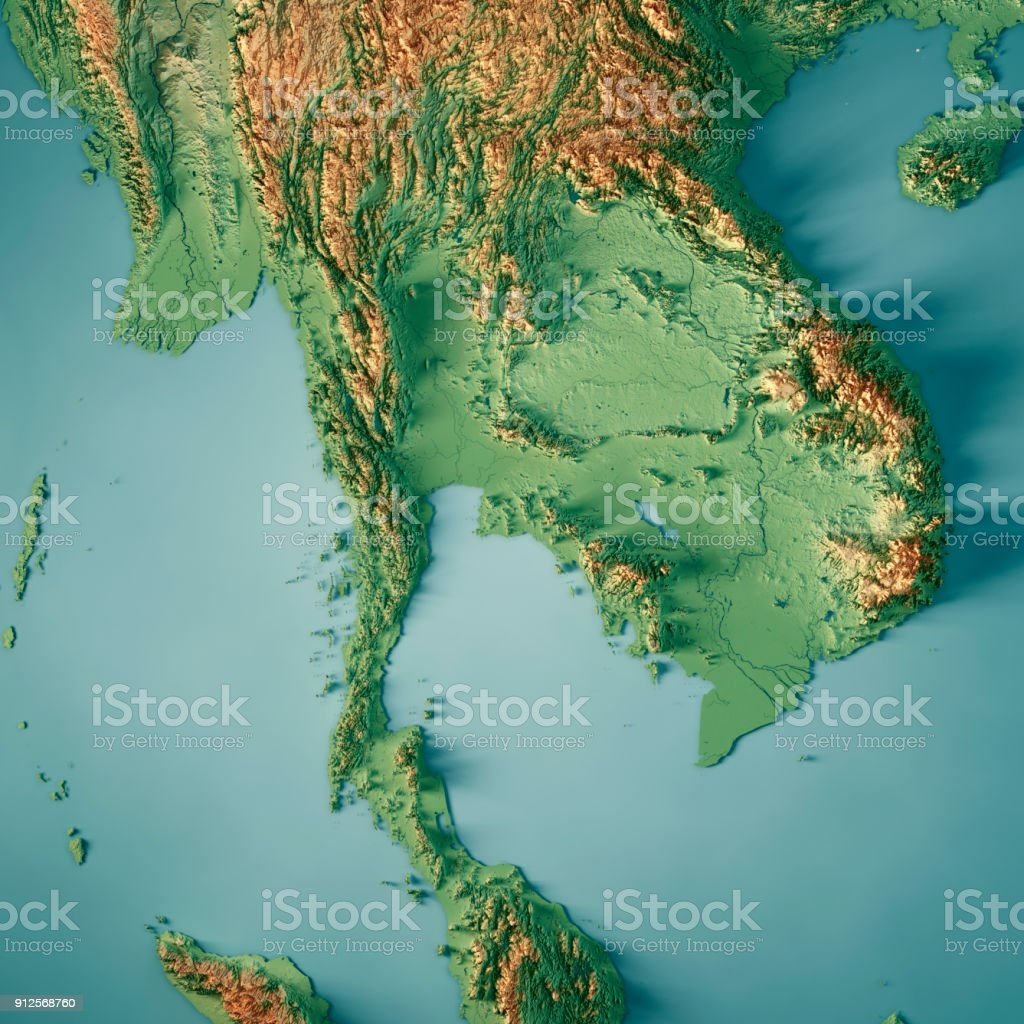Thailand Topographic Map.Thailand 3d Render Topographic Map Stock Photo More Pictures Of