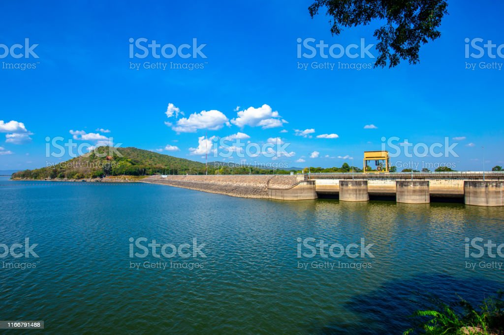 Ubonrat Dam on blue sky, khonkaen, Thailand