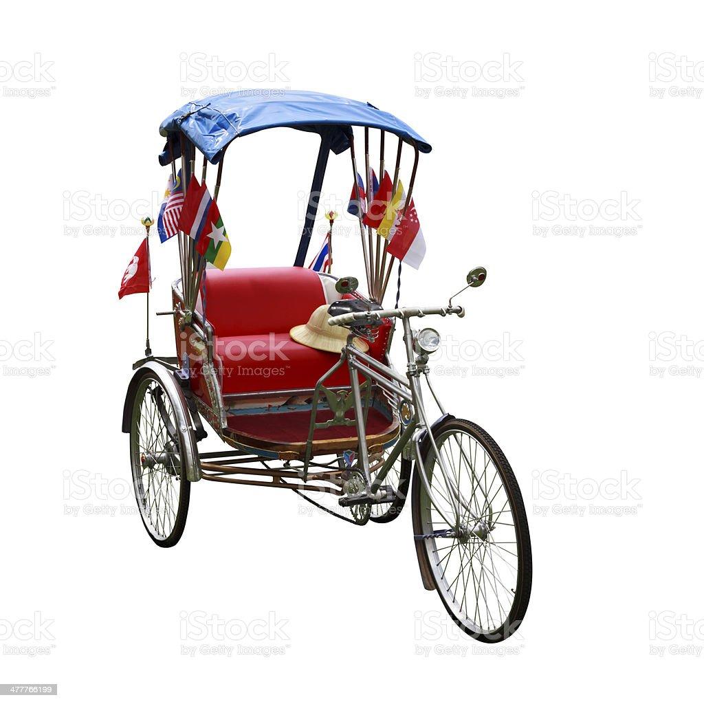 Thailand auto rickshaw three-wheeler tuk-tuk taxi driver on white background. stock photo