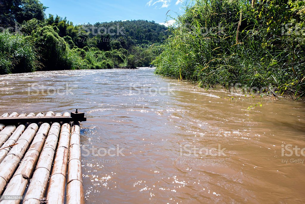 Thailand Bamboo Raft Trip in Chiang Mai Mae Taeng River stock photo