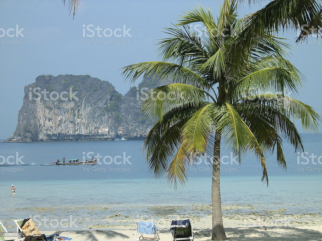 Thailand Beach with Long-Tail Boat stock photo