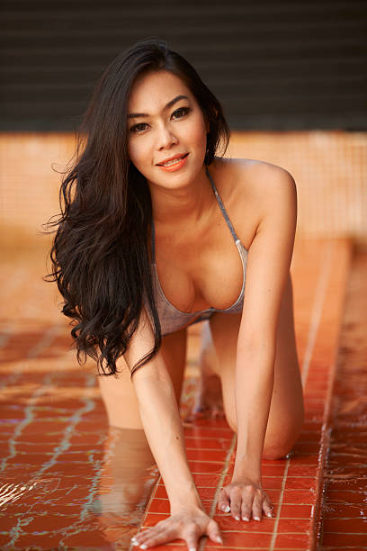 thailand beauty in pool - thai culture stock photos and pictures