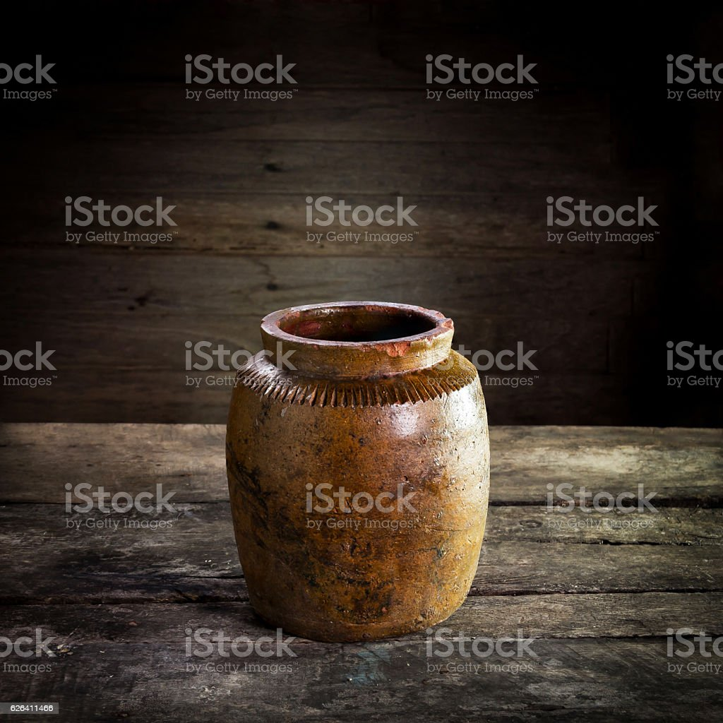 Thailand Clay Jar for Stored of thai food,still life stock photo