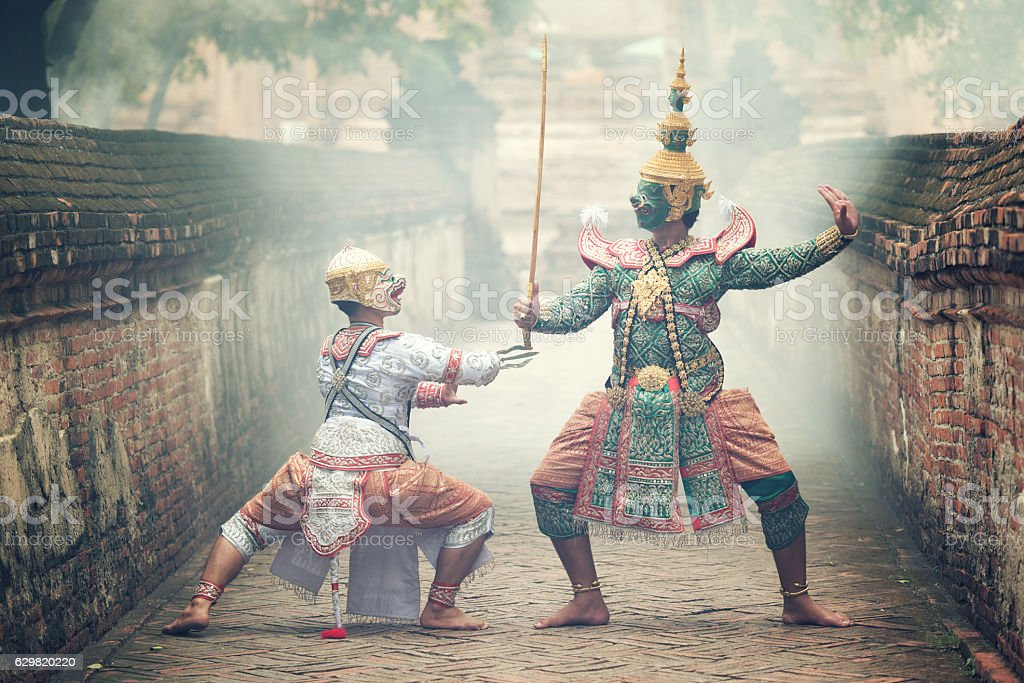 Thailand culture Dancing art in masked Khon stock photo