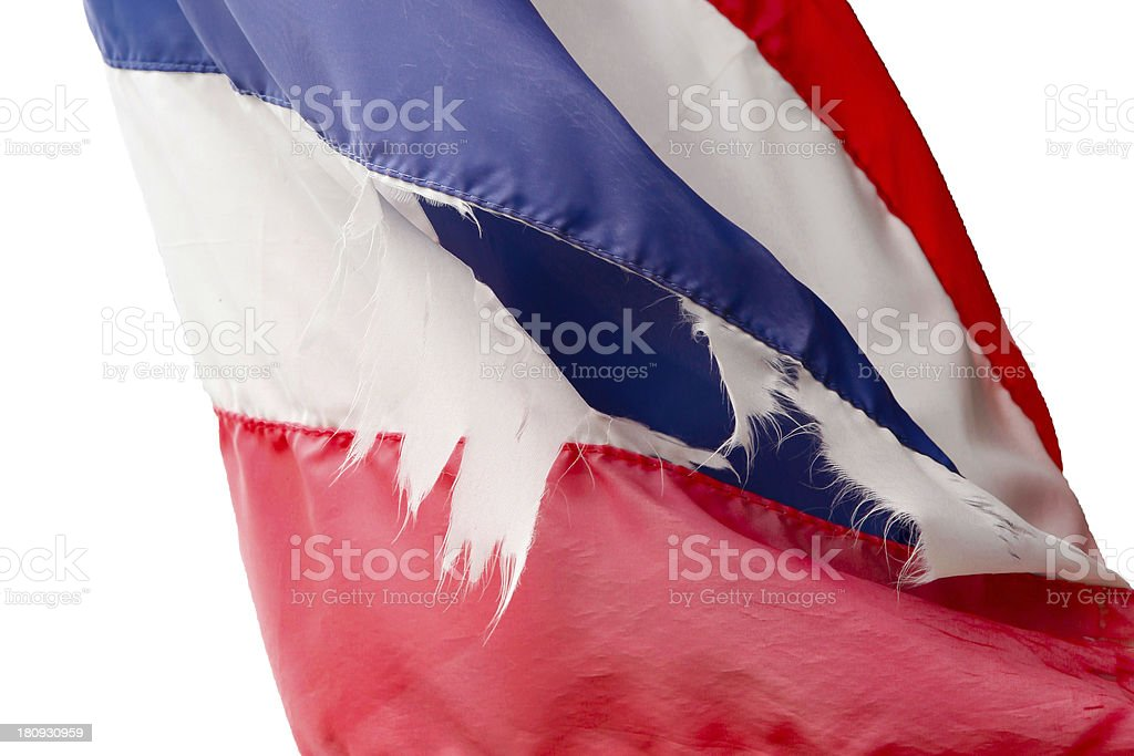 Thailand Flag old, isolated on white background royalty-free stock photo