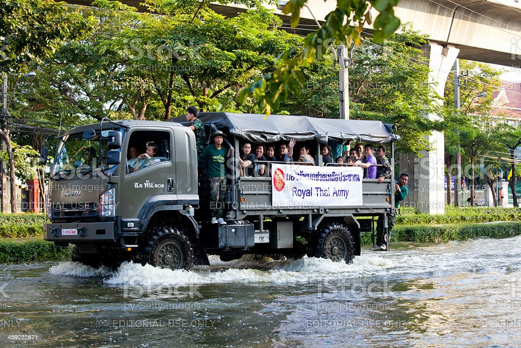 Thailand floods - People on Royal Thai Army truck royalty-free stock photo