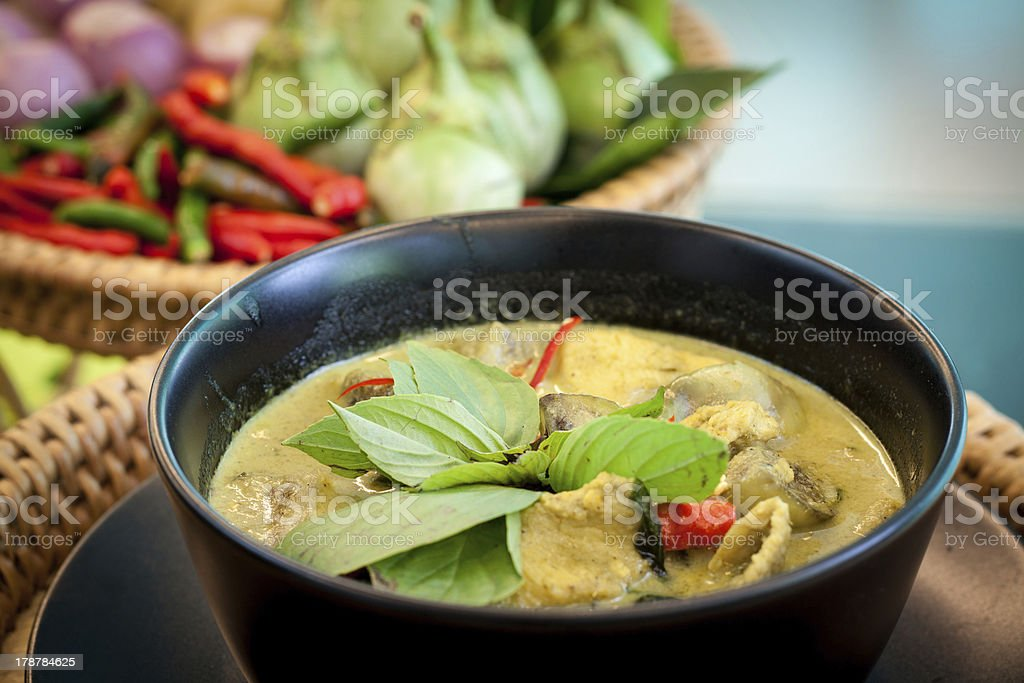 Thailand food Green curry Chicken Intense soup stock photo
