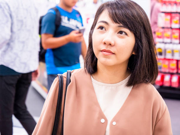 Thailand girl going shopping stock photo