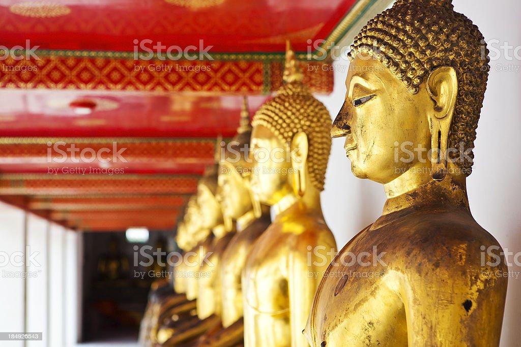 Thailand Golden Buddhas stock photo