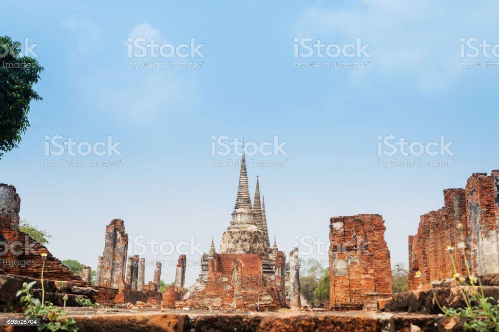 Thailand. Historical Park, Phra Nakhon Si Ayutthaya. Temple Pagoda in Ayutthaya (Wat Phra Si Sanphet) stock photo