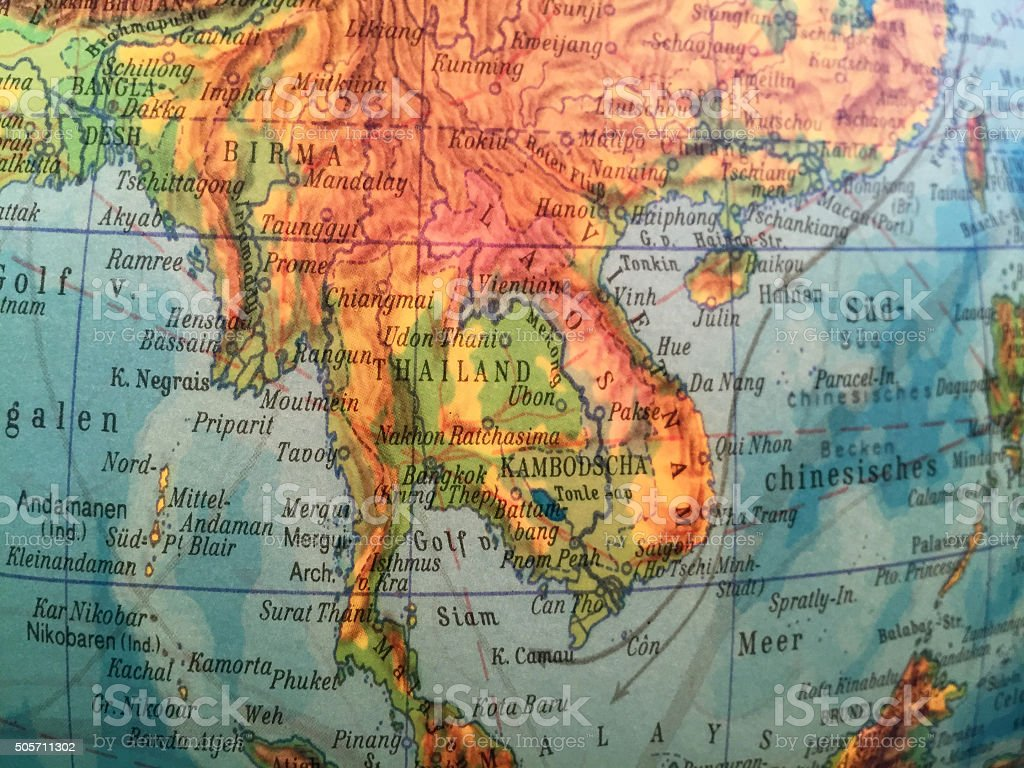 Thailand / Indochina - Alter Globus / Weltkarte stock photo