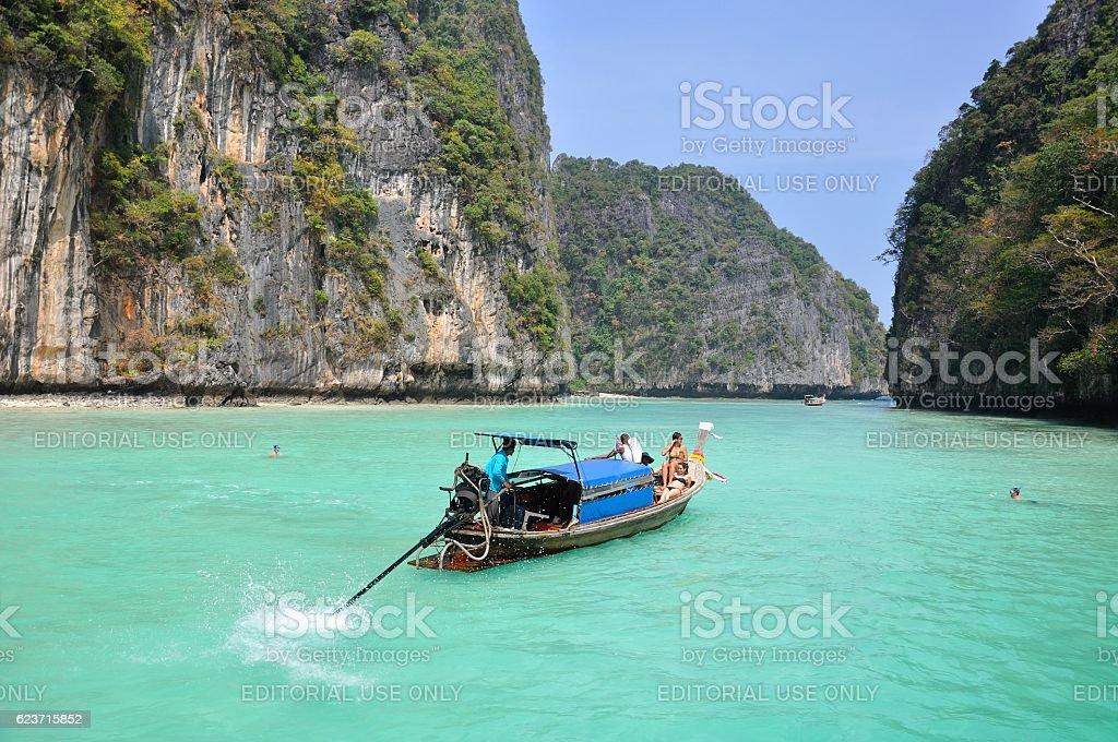 Thailand, Krabi - December 27, 2012 longtail boat stock photo