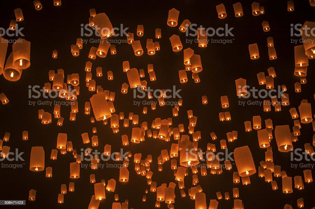 Thailand Loi Krathong and Yi Peng Festival stock photo