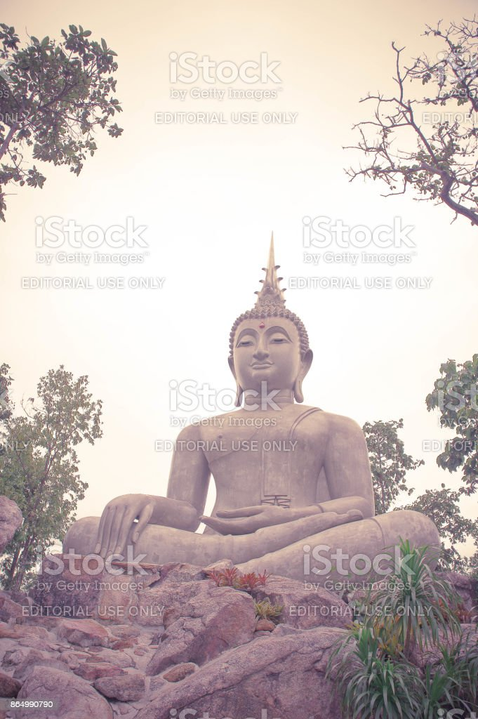 Thailand Loie, 11 june 2017 ,Big buddha statue among nature  , built on a high hilltop of loie Thailand stock photo