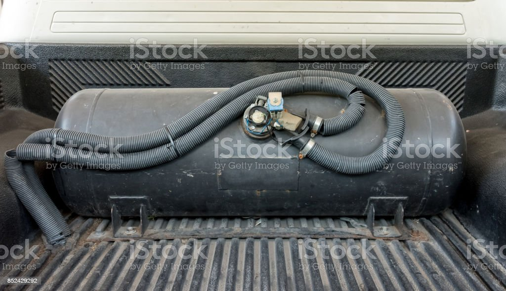 Thailand, LPG gas car.To save fuel. stock photo