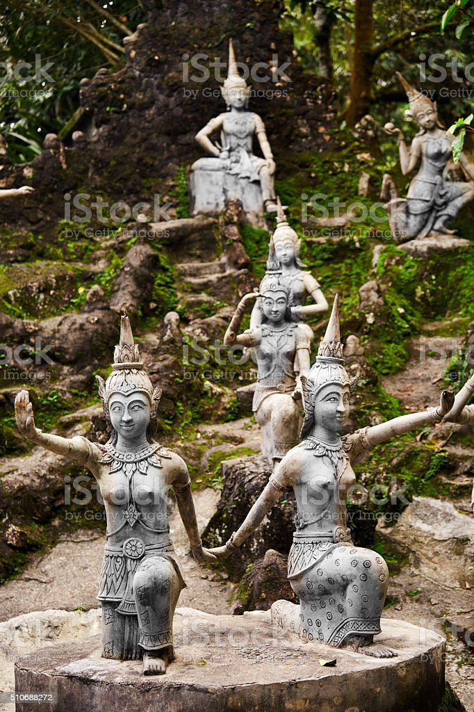Magic Secret Buddha Garden Statues In Samui. Travel, Tourism. Royalty