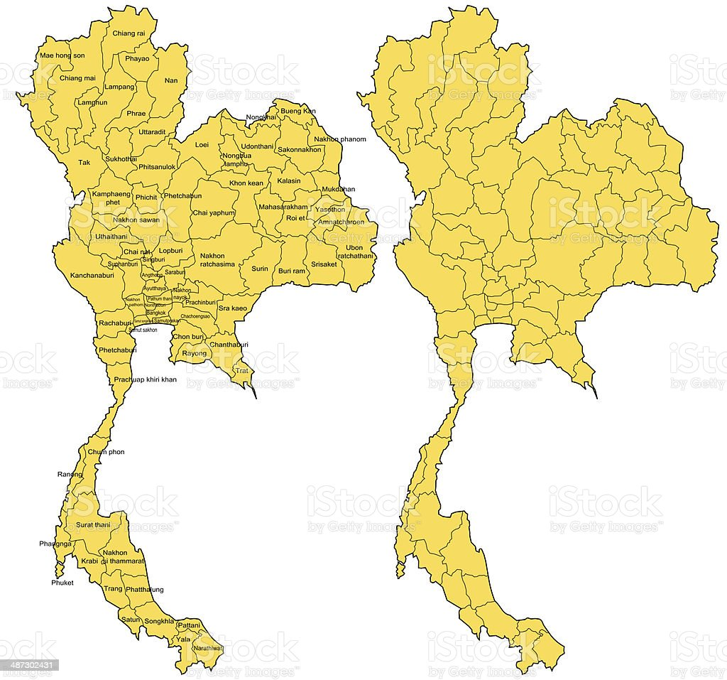 Thailand Map With 77 Provinces Stock Photo More Pictures of