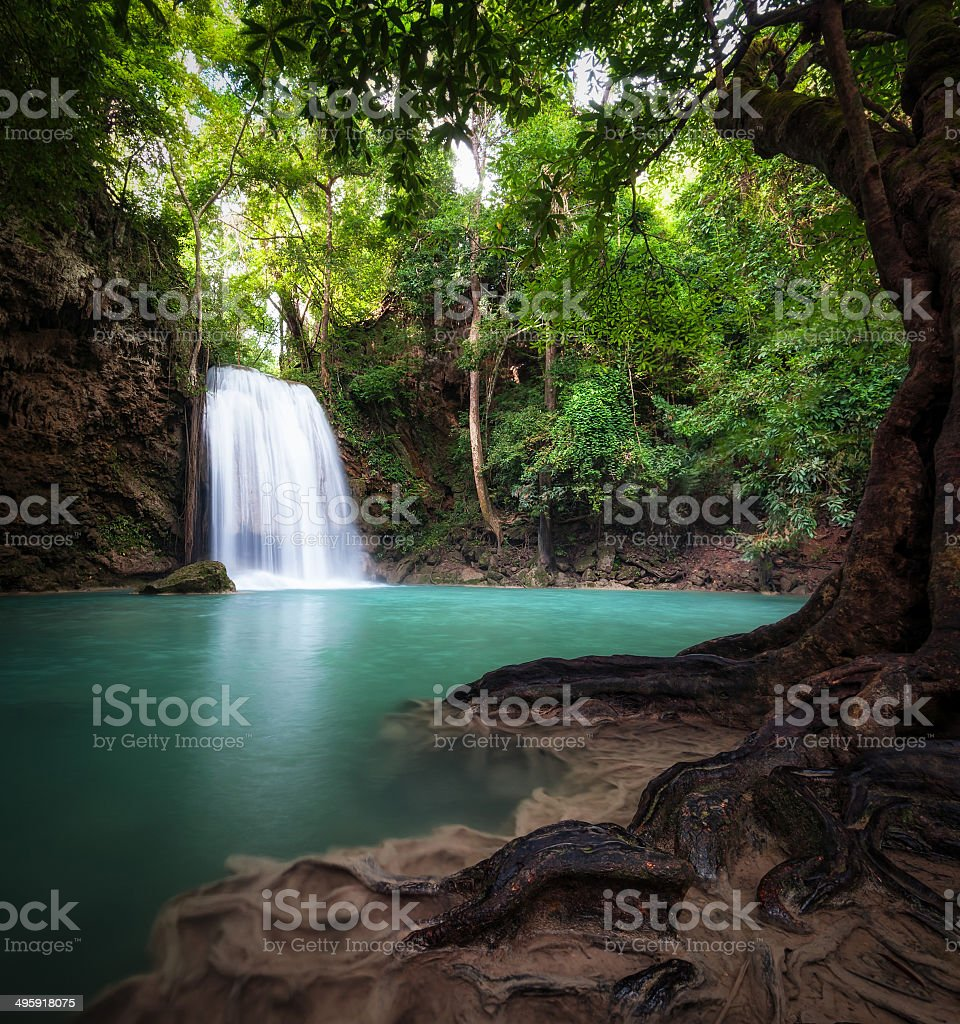 Thailand outdoor photography of waterfall in rain jungle forest. royalty-free stock photo